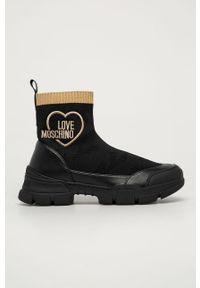 Czarne buty sportowe Love Moschino z cholewką, z okrągłym noskiem