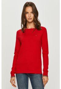 Czerwony sweter TOMMY HILFIGER długi, na co dzień, casualowy