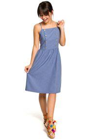 e-margeritka - Sukienka na ramiączkach za kolano niebieska - 44. Kolor: niebieski. Materiał: tkanina, poliester, len, materiał. Długość rękawa: na ramiączkach. Wzór: aplikacja. Sezon: lato. Typ sukienki: dopasowane, rozkloszowane, plisowane