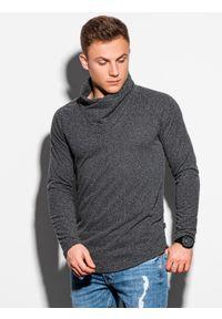 Ombre Clothing - Bluza męska ze stójką B1184 - grafitowa - XXL. Typ kołnierza: kołnierzyk stójkowy. Kolor: szary. Materiał: dzianina, wiskoza, poliester. Długość rękawa: długi rękaw. Długość: długie. Styl: klasyczny