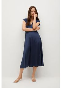 mango - Mango - Sukienka Juliet. Kolor: niebieski. Materiał: materiał. Długość rękawa: krótki rękaw. Typ sukienki: rozkloszowane