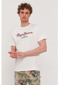 Pepe Jeans - T-shirt Marco. Okazja: na co dzień. Kolor: biały. Wzór: nadruk. Styl: casual