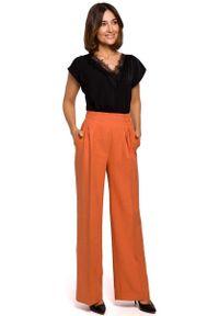 Pomarańczowe spodnie z wysokim stanem MOE eleganckie