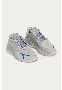 Szare buty sportowe adidas Originals na średnim obcasie, na obcasie, z cholewką, na sznurówki