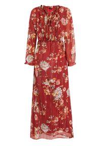 Czerwona sukienka bonprix maxi, z nadrukiem, na lato