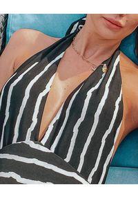 SUSAN SWIMWEAR - Strój jednoczęściowy Baleo Stripes. Kolor: czarny. Materiał: tkanina. Wzór: paski, ze splotem, geometria, aplikacja