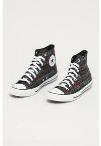 Czarne wysokie trampki Converse z cholewką, z okrągłym noskiem