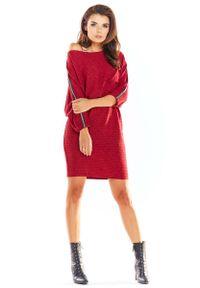 Czerwona sukienka dzianinowa Awama