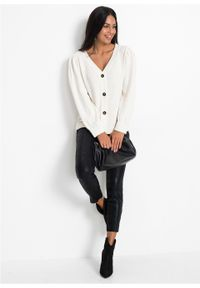 Biały sweter bonprix z dekoltem w serek