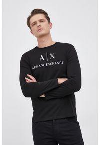 Armani Exchange - Longsleeve. Kolor: czarny. Materiał: dzianina. Długość rękawa: długi rękaw. Wzór: nadruk