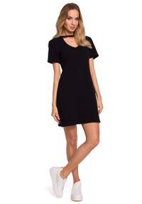 MOE - Wygodna Sukienka w Kształcie Litery A - Czarna. Kolor: czarny. Materiał: bawełna, elastan. Typ sukienki: w kształcie A