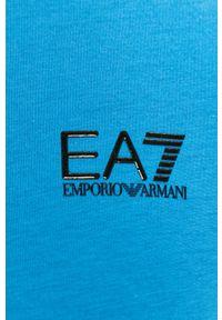 Niebieski t-shirt EA7 Emporio Armani z okrągłym kołnierzem, na co dzień, casualowy