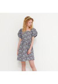 House - Bawełniana sukienka z bufiastym rękawem - Wielobarwny. Materiał: bawełna