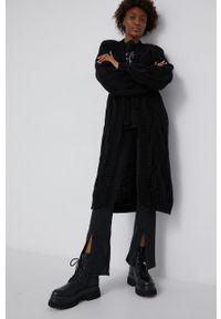 Answear Lab - Kardigan z dodatkiem wełny. Kolor: czarny. Materiał: wełna. Długość rękawa: długi rękaw. Długość: długie. Styl: wakacyjny