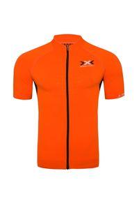 Pomarańczowa koszulka termoaktywna X-Bionic z dekoltem woda