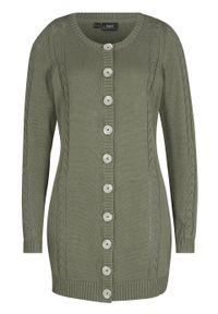 Zielony sweter bonprix w ażurowe wzory