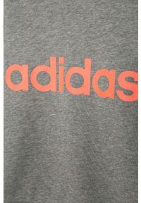 Szara bluza Adidas na co dzień, z nadrukiem, casualowa, bez kaptura