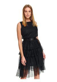 Czarna sukienka TOP SECRET elegancka, na imprezę, z krótkim rękawem, na zimę