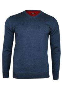 Niebieski sweter MM Classic klasyczny, z dekoltem w kształcie v, na spotkanie biznesowe