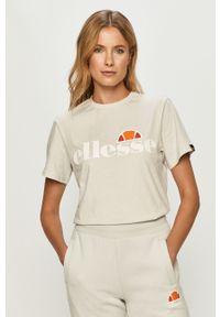 Szara bluzka Ellesse na co dzień, casualowa, z okrągłym kołnierzem