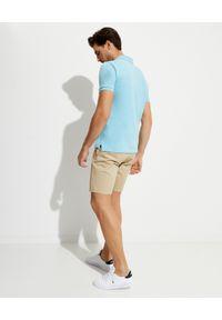 Ralph Lauren - RALPH LAUREN - Niebieska koszulka polo Mesh Custom Slim Fit. Typ kołnierza: polo. Kolor: niebieski. Materiał: mesh. Długość: długie. Wzór: haft #4