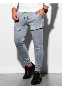 Ombre Clothing - Spodnie męskie dresowe joggery P904 - szary melanż - XXL. Kolor: szary. Materiał: dresówka. Wzór: melanż #4