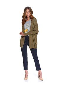 Brązowy sweter TOP SECRET w kolorowe wzory, do pracy, na wiosnę