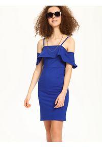 Niebieska sukienka TROLL w kolorowe wzory, na ślub cywilny, elegancka, na ramiączkach