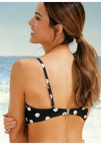 Czarny strój kąpielowy dwuczęściowy bonprix w kropki