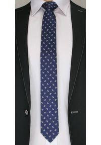 Modny Krawat Męski. Wzór Paisley, Nerka - Chattier, Granatowo-Brązowy. Kolor: niebieski. Materiał: tkanina. Wzór: paisley. Styl: wizytowy, elegancki