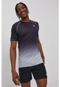 4f - 4F - T-shirt. Okazja: na co dzień. Kolor: szary. Materiał: włókno, dzianina. Styl: casual