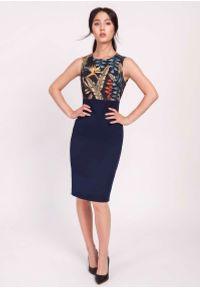 Lanti - Granatowa Klasyczna Ołówkowa Sukienka z Łączonych Materiałów. Kolor: niebieski. Materiał: materiał. Typ sukienki: ołówkowe. Styl: klasyczny