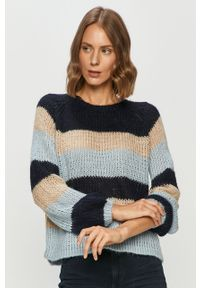 Niebieski sweter only z okrągłym kołnierzem, długi