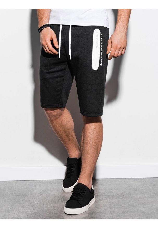 Ombre Clothing - Krótkie spodenki męskie dresowe W239 - czarne - XXL. Okazja: na co dzień. Kolor: czarny. Materiał: dresówka. Długość: krótkie. Wzór: nadruk. Sezon: wiosna, lato. Styl: klasyczny, casual