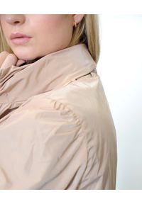 EMMA & GAIA - Dwustronna długa kurtka. Kolor: szary. Długość: długie. Wzór: moro, gładki, nadruk. Styl: sportowy