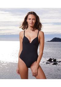 Czarny strój kąpielowy jednoczęściowy Etam