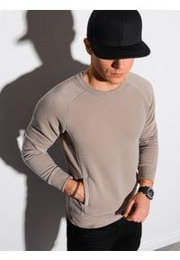 Ombre Clothing - Bluza męska bez kaptura B1156 - brązowa - XXL. Typ kołnierza: bez kaptura. Kolor: brązowy. Materiał: dresówka, bawełna, jeans, dzianina, poliester