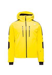 Żółta kurtka narciarska Descente Thinsulate, na zimę, z kontrastowym kołnierzykiem