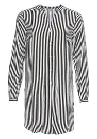 Długa bluzka bonprix biel wełny - czarny w paski. Kolor: biały. Materiał: wełna. Długość rękawa: długi rękaw. Długość: długie. Wzór: paski