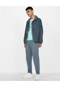 Armani Exchange - ARMANI EXCHANGE - Błękitny T-shirt z logo. Okazja: na co dzień. Kolor: biały. Materiał: jeans, bawełna. Wzór: nadruk. Styl: casual, klasyczny