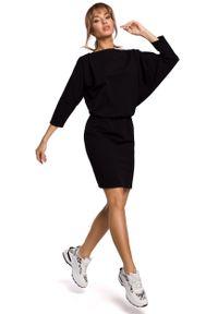 MOE - Sukienka Sportowa z Dekoltem V na Plecach - Czarna. Kolor: czarny. Materiał: bawełna, elastan. Typ sukienki: sportowe. Styl: sportowy
