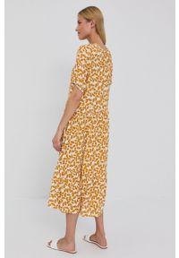 Vila - Sukienka. Okazja: na co dzień. Kolor: żółty. Materiał: tkanina. Długość rękawa: krótki rękaw. Typ sukienki: proste. Styl: casual