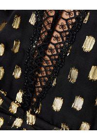 SELF PORTRAIT - Sukienka mini w kropki. Okazja: na wesele, na ślub cywilny, na imprezę. Kolor: czarny. Materiał: tkanina, koronka. Długość rękawa: długi rękaw. Wzór: kropki. Typ sukienki: plisowane, dopasowane. Styl: elegancki, retro. Długość: mini
