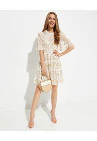 NEEDLE & THREAD - Sukienka mini Reverie. Typ kołnierza: dekolt gorset. Kolor: beżowy. Materiał: materiał. Wzór: nadruk, haft, kwiaty. Typ sukienki: rozkloszowane, gorsetowe. Długość: mini