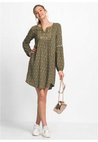 Sukienka z haftem bonprix ciemnooliwkowy z nadrukiem. Kolor: zielony. Wzór: haft, nadruk