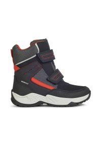 Czarne buty zimowe Geox na rzepy, z cholewką, na zimę