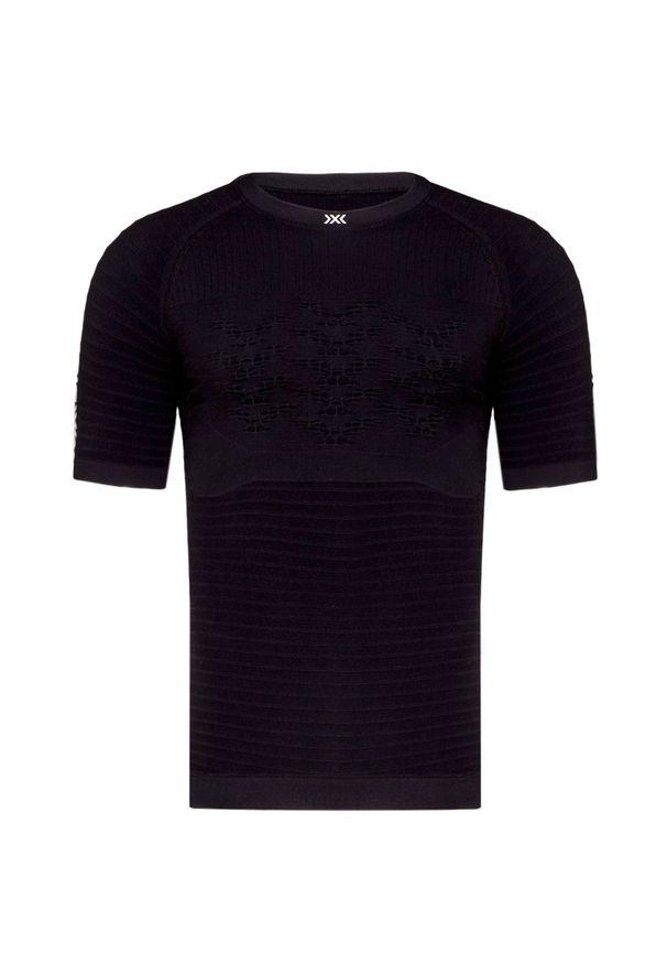 Czarna koszulka termoaktywna X-Bionic z asymetrycznym kołnierzem, z krótkim rękawem