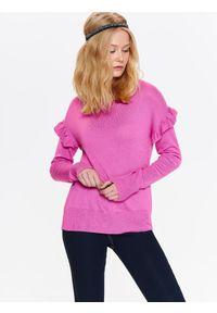 Różowy sweter TOP SECRET z falbankami, w kolorowe wzory, na co dzień, długi