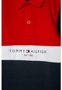 Niebieska koszulka z długim rękawem TOMMY HILFIGER casualowa, na co dzień, krótka, z nadrukiem