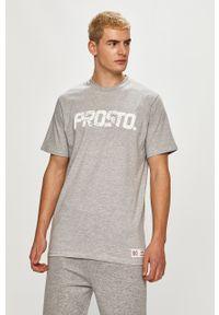 Szary t-shirt Prosto. z nadrukiem, casualowy, na co dzień